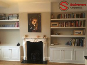 photo of painted alcove storage