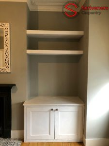 alcove cabinet and shelves sanded and primed by Scriveners Carpentry